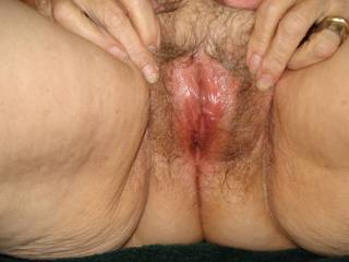 One more closeup of her mature pussy