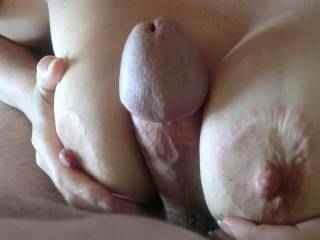 I can feel you squeeze my thick cock with those beautiful breasts. It makes me thick and full