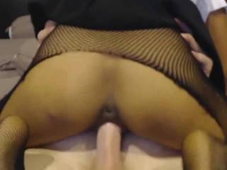 "Part 2 to ""Fun with Fishnets"", posted a year ago; In pt. 2, I cum as he eats my Asian pussy while fingering my ass & I ride his thick cock & cum MORE ~ ~ ~ ! Want some?"
