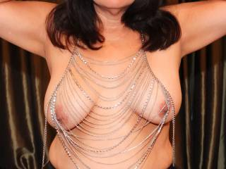 Showing off my chain jewelry top...I think it really accentuates my tits!