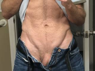 Just a quick tease while I change clothes.  Commando as per usual.  Would you like this view when you undo my pants?