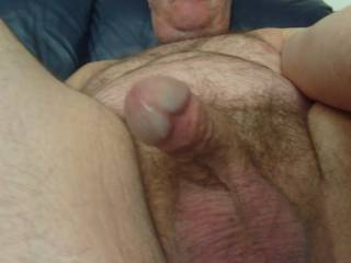 I gently reach out and hold your cock in my hand to massage it flicking my thumb over the head to stimulate and please you x