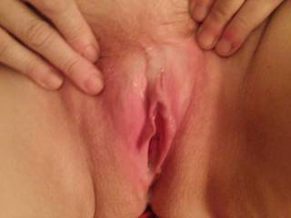 Hot cum in and on my pussy after getting fucked.