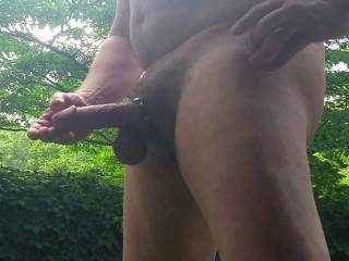 Stroking my cock outdoors! Cum stroke with me?