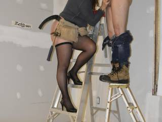 Sometimes I need some stairs to suck his hard cock ....Could you hold the ladder??