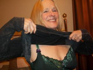 new gal in the neighborhood shows off her bra