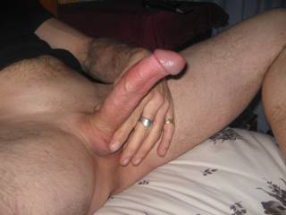 getting ready for wife to come and sit on my hard cock