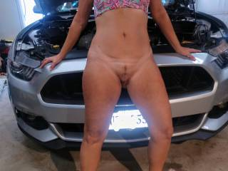 Working on the car is hard work anyone willing to give a hand