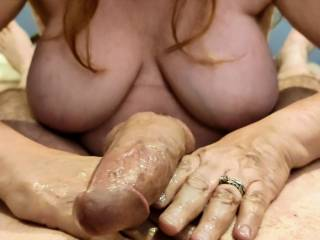 My philosophy: Slowly and lightly move your hand up and down his joystick to rev him up... Let him enjoy the view of your huge married tits as you give him the massage of his life.
