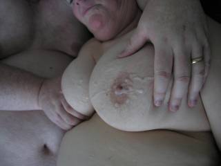 Our buddy came over the other day and all we got to show for it was these cum covered tits! LOL What a great load he delivered on us. Thanks again MidagedBi!