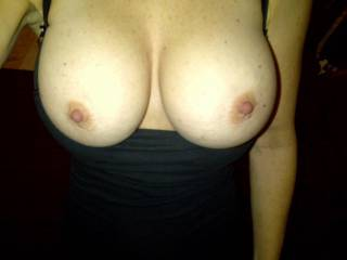 nice tits,im sticking my fingers in my wifes pussy while i get hard over them x