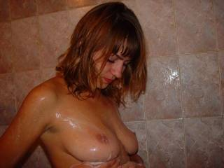 great tits I'd love to suck on them and than blow a load all over them and watch your rub my cream all over your hot body
