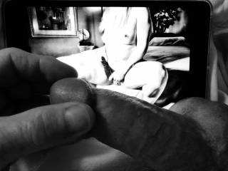 Stroking just the head of my cock as I look at NJCumLover69's powerful hot photo.