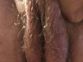 Close up of me pinching Kiki's hairy pussy lips. What do you think?