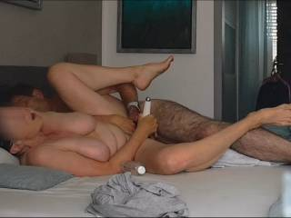 Here she Cums with my Dick in her Ass, My Finger in her Vagina and her Magic Wand on her Clit..... PIC 1 This is from a Video of one of our many Anal sessions. I love to see her Face wenn she is cumming