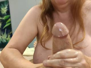 This is how a married woman takes care of a cock! Look at that beautiful thick cock shine with cum. Mmm... Does your cock need some married loving, dear?