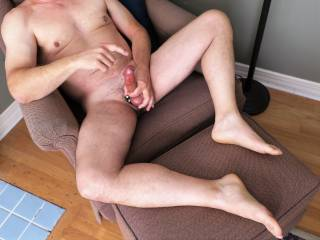 Kicked back and playing with my precum