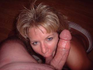 While she was busy sucking your balls and your cock, I could do some damage to her pussy and clit with my tongue.....