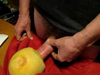 """Such a strong vacuum effect - can\'t get my swollen 8"""" dick out of it at the end! Moaning and cumming into a fruity melon - an incredible juicy vacuum effect... tribute to all the willing milf, throating and gagging assfucking girls on Zoig ;-)"""
