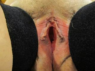 Another shot of Wifey\'s delicious pussy spread wide open.