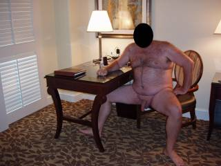 Weekend getaway at a luxury resort.  Hubby posing nude for me!