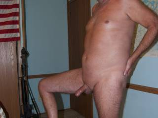 Showing my hard cock.