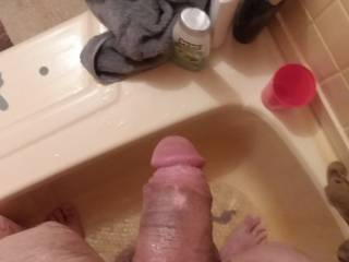 Fat cock after shower