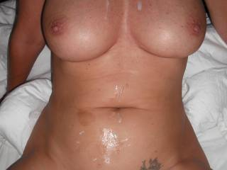 Hubby\'s hot fresh cum over my tits and stomach