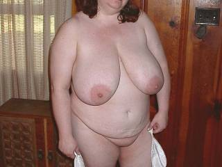 What a fantastic pic , lovely face and those massive udders compliment her nice big belly and thick legs....your wife is so sexy