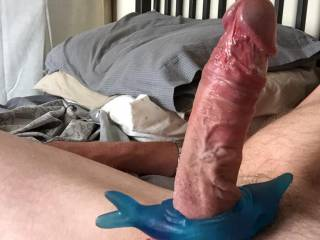 OMG !!! How I wish !! It's huge !! It's veiny !! It's so long !! It's so hard !!  It's so Erect too !! And your swollen balls are so... succulent too !!   Horny for you !!