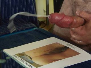 A blast from my past. Cumming over the pussy photo of Miss Mrock69