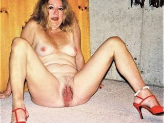 Back again on basement floor, naked, spreading my cunt, waiting for another guy to suck!