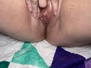 This clit gets so hard when she gets attention and used proper, like to have cock rubbed all over it and have this pussy covered in cockmilk
