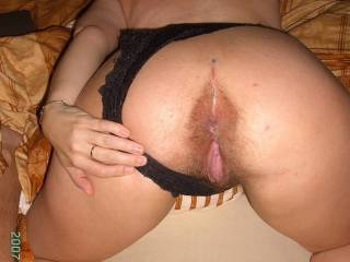 Mine is now rock-hard and ready, thanks to you! Great looking ass!! I'd love to slide into your hot pussy!!