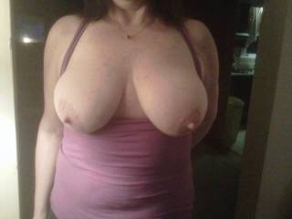Fantastic!  I'd like to kiss, suck and nibble on them until those nipples are long and hard....then I'd gently tug on them with my teeth.....