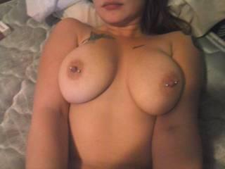 mmmmmmmmmmmmmmm love to suck your cum off of her tits
