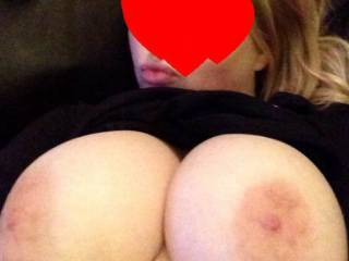 Who would like to watch my wife's tits bounce, while she rides your cock, I just love watching her sexy face while she's having sex.