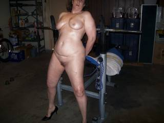 wife posing for friends