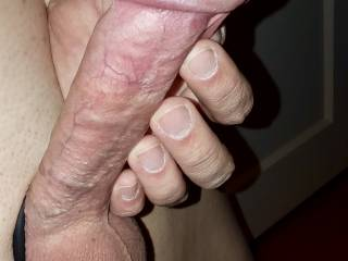 "I'm actually getting turned on myself by these pics! I had a prostate stimulator inserted with wraparound cock ring. Actually makes it appear bigger than the 5 1/2"" that it really is. I came so hard that night I almost was in tears."