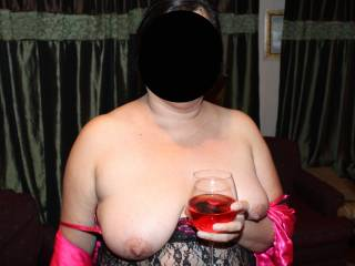 yeap:) a little wine on those nice titties for me to lick off to start:)