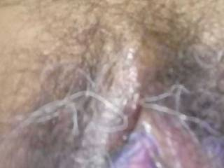 My new GF sent me this pic of her lovely hairy pussy...It is small and really sweet