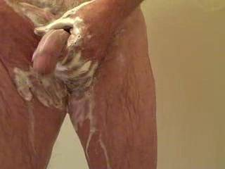 Seven minute shower with cum shot.