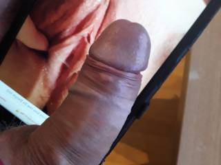 That wet pussy made my cock even harder and also made me wet. Mmm tasty precum.....