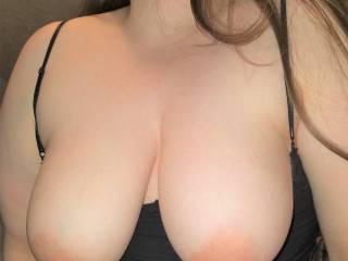 I\'ve got a couple of large handfuls here - do you like how my big soft tits hang?