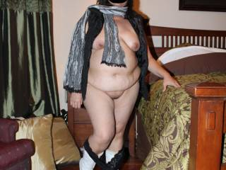 My black panties and white boots contrast well together...don\'t you think?