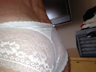 playing in a pair of my wifes white panties :) x