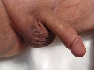 My hubby\'s cock and balls on display!  Makes my pussy wet knowing others are looking at his cock!