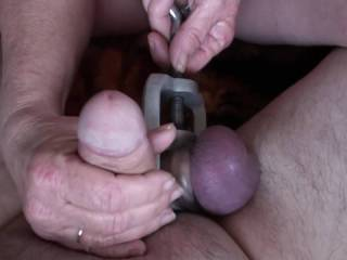 Look at how dark those balls are, loved twisting them around. Jerked him off with both hands and no Lube until he shot his load all over my hands and his trapped balls. Did I make you cum to?