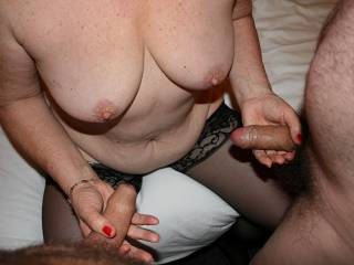Can you guess which cock belongs to Snakey??   Was a few years back...loved stroking both  can you guess who was first to cum??  Eve
