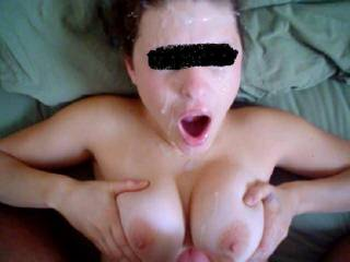 You look so fucking hot with all that sperm on your face...I'd love to spray my load over you